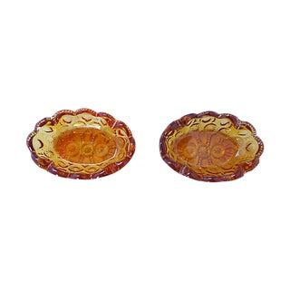 Amber Press Glass Ashtrays - Set of 2 For Sale