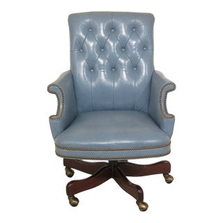 Hancock & Moore Powder Blue Leather Tufted Back Desk Chair For Sale