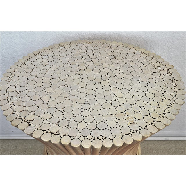 Tan McGuire Wheat Sheaf Bamboo Rattan Dining Table With Thick Round Glass Top Organic Mid Century Modern MCM Millennial For Sale - Image 8 of 11