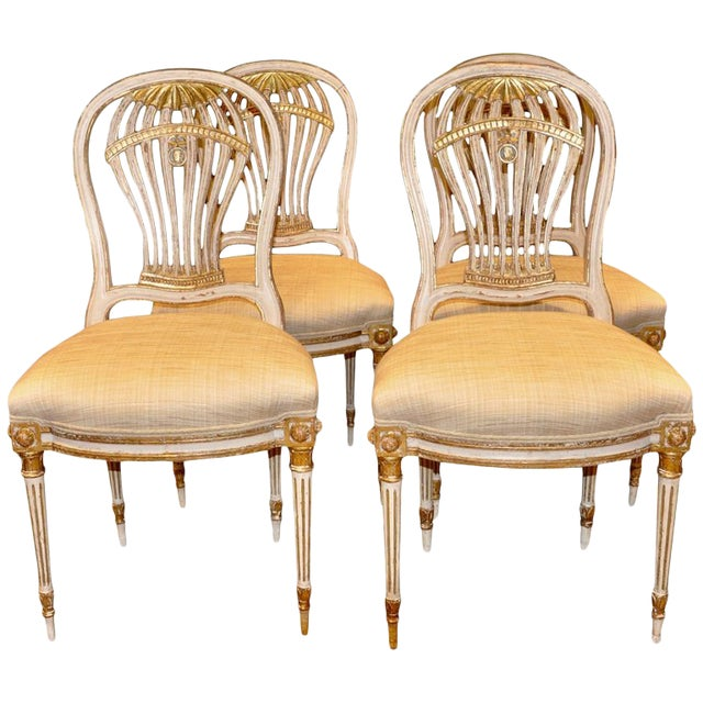 Set of Four Louis XVI Style Painted Chairs, Balloon Montgolfier For Sale