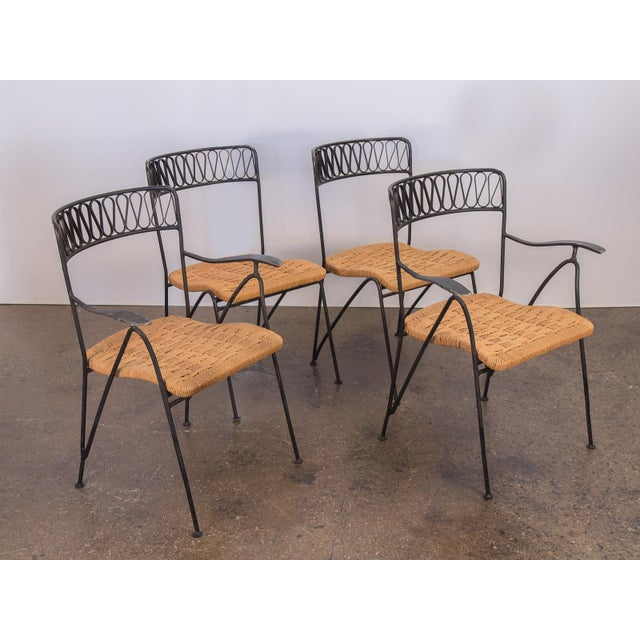 1950s Salterini Woven Ribbon Chairs and Table Patio Set - 5 pieces For Sale - Image 5 of 11