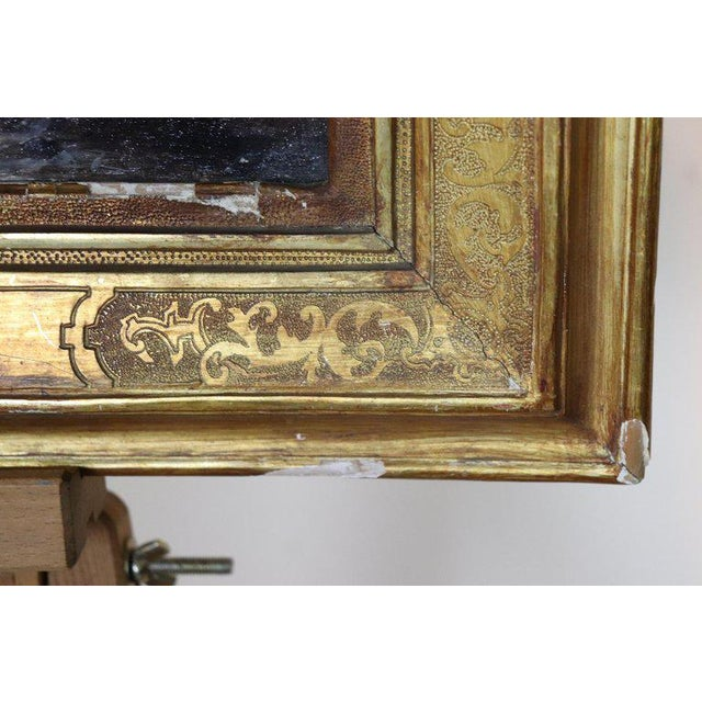 Illustration Italian Oil Painting Mountain Landscape With Golden Frame For Sale - Image 3 of 13
