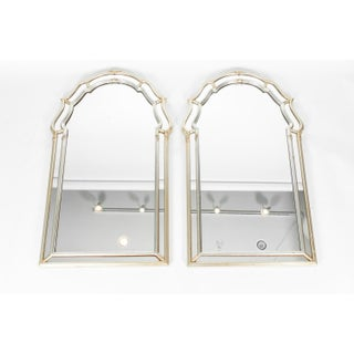 Vintage Silvered / Gold Wood Framed Hanging Wall Mirrors - a Pair Preview