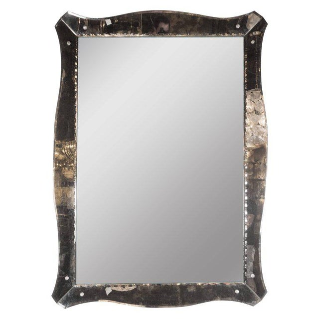 Glass 1940s, Smoked Mirror with Chain Beveled Details and Scalloped Edges For Sale - Image 7 of 7