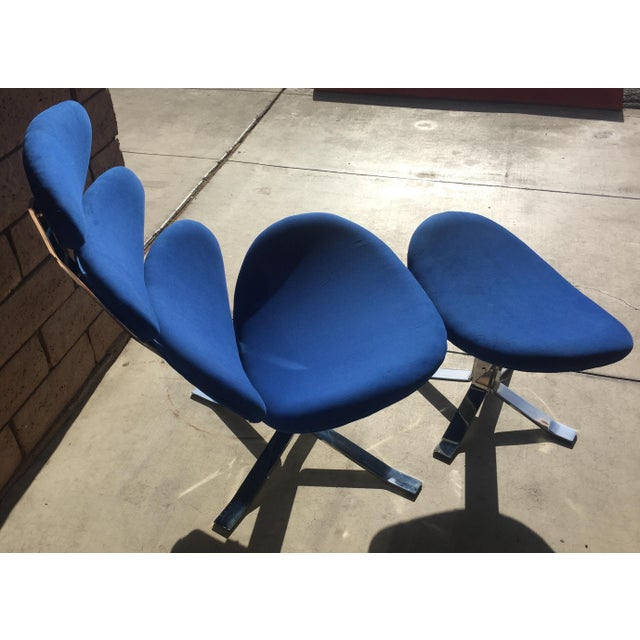 Erik Jørgensen Mid Century Modern Blue Pedal Corona Style Chair & Ottoman For Sale - Image 4 of 7