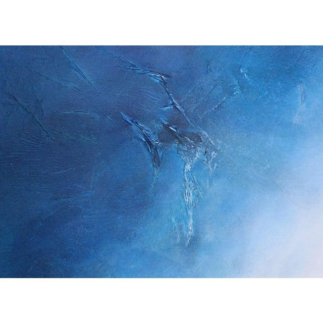 Large Original Textured Abstract Painting Dreamstate Blue Grey White Wall Hanging - Image 3 of 4