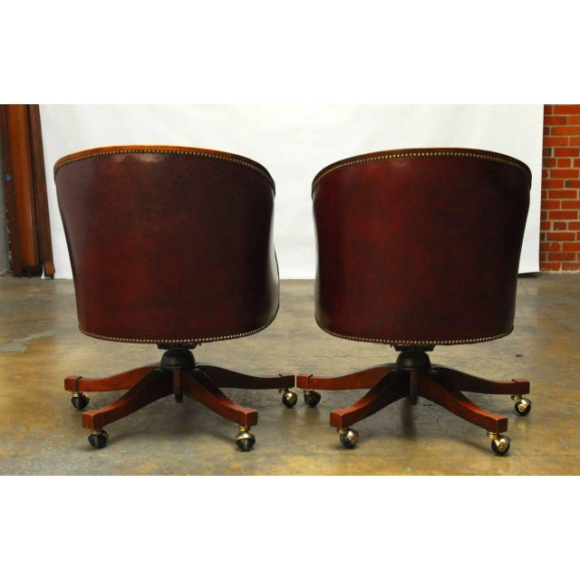 Baker Leather Barrel Back Office Chairs - A Pair - Image 3 of 6