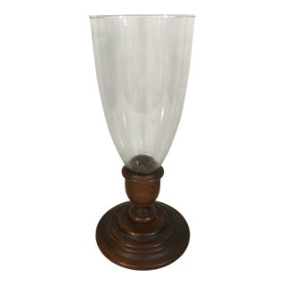 Turned Wood and Glass Hurricane Candle Holder For Sale