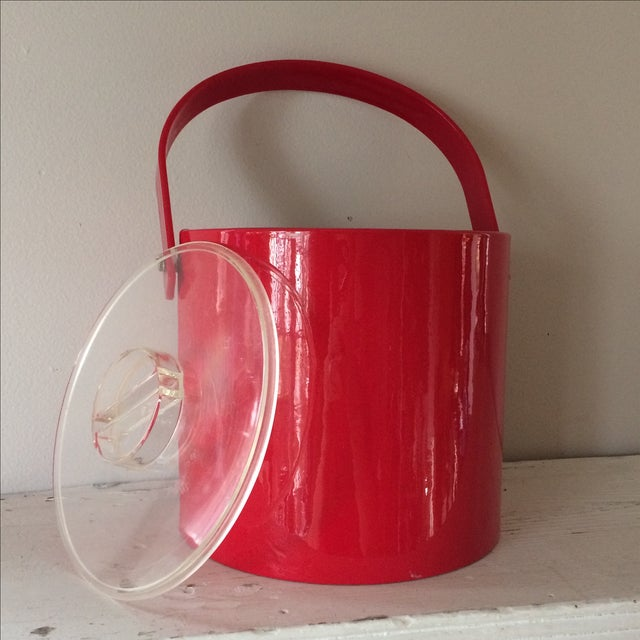 Mid-Century Modern Vintage Red Ice Bucket & Tongs For Sale - Image 3 of 5