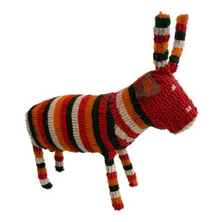 1990s African Red Beaded Antelope Figurine For Sale