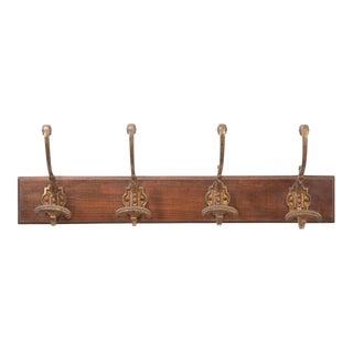 French Vintage Gilt-Brass and Oak Coat Rack For Sale