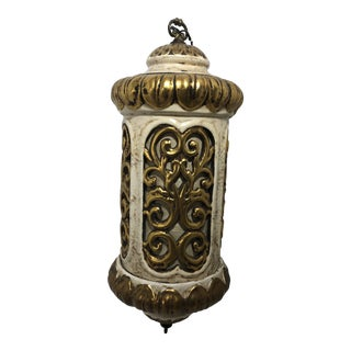 Vintage 1970s Ceramic Hanging Swag Light With Fiberglass Shade Insert For Sale