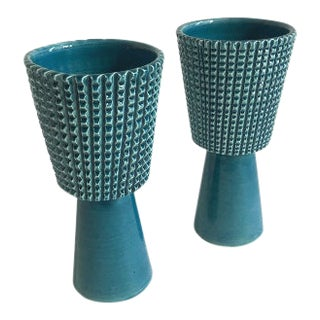 Global Views Teal Ceramic Vases - a Pair For Sale