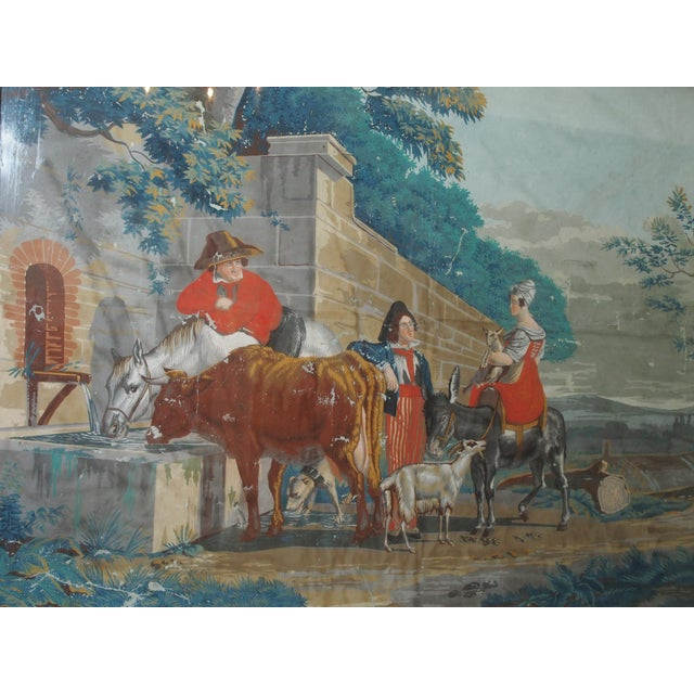 """Large Early 19th c. Gouache Painting, """"By the Water Trough"""" - Image 3 of 8"""