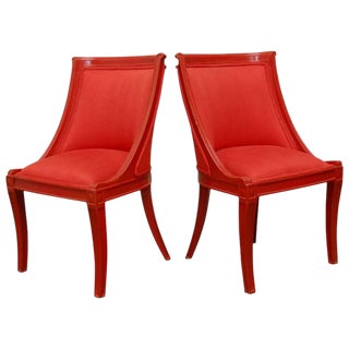 Regency Style Red Lacquer Chairs- A Pair