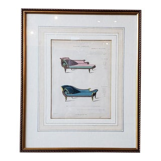 "Early 19th Century Interior Design Engraving ""Chaise Lounges"" C.1820s For Sale"