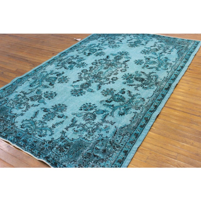 "Aqua Over-Dyed Turkish Oushak Rug - 5'7"" x 9'1"" - Image 4 of 6"