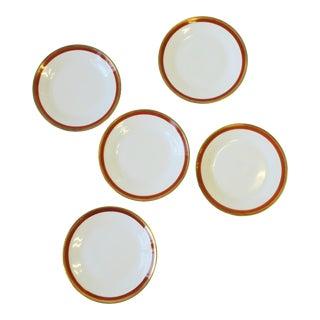 Richard Ginori Designer Italian White Gold and Orange Salad or Dessert Plates - Set of 5 For Sale