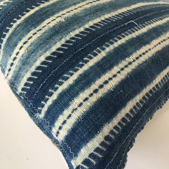 African Vintage African Mudcloth Indigo Pillow Cover For Sale - Image 3 of 5