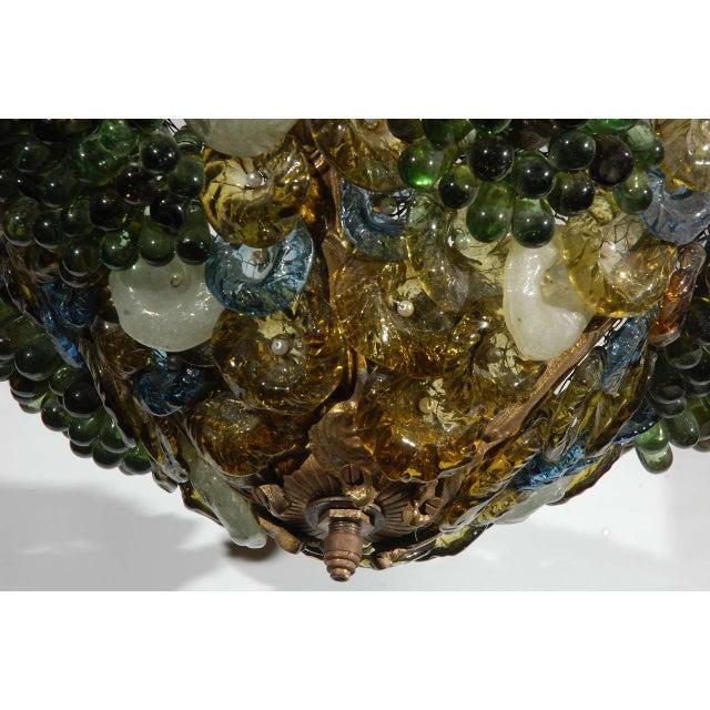 Art Deco Art Glass & Brass Chandelier For Sale - Image 5 of 9