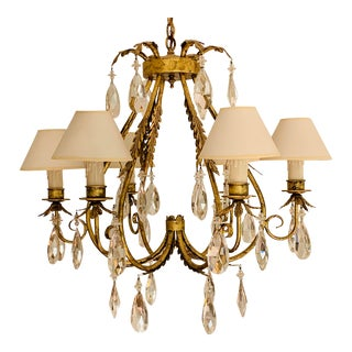 Dana Creath Six Light Crystal Chandelier For Sale