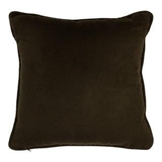 Contemporary West Elm Deep Brown Microfiber Toss Pillow For Sale