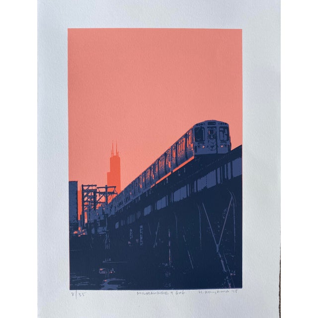 """Contemporary """"Milwaukee and 606 II"""" Contemporary Serigraph by Hiroshi Ariyama For Sale - Image 3 of 3"""