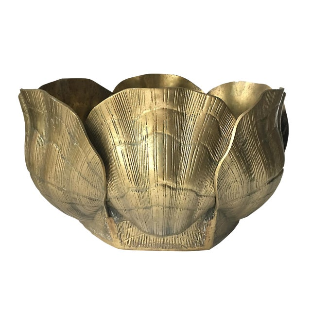 Vintage Large Shell Brass Planter or Cachepot - Image 1 of 7