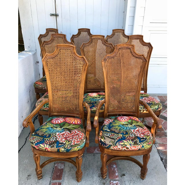 1970s Vintage Cane Back Dining Chairs- Set of 8 With Schumacher Fabric, Chiang-Mai Pattern For Sale - Image 12 of 12