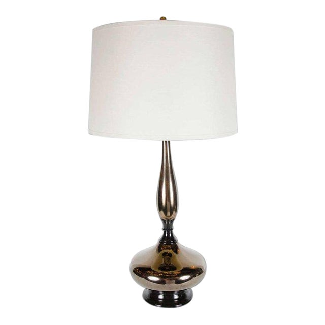 Mid-Century Modernist Stylized Hourglass Form Table Lamp in Bronze Ceramic For Sale