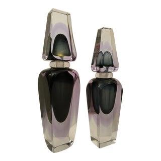 Mid-Century Modern Murano Art Glass Large Perfume Bottles - Set of 2 For Sale