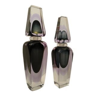 Mid-Century Modern Murano Art Glass Large Perfume Bottles - Set of 2