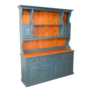 Country Cottage Style Custom Crafted Blue Painted Large Pine Hutch Cabinet