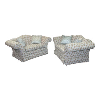 Modern Floral Loveseats- a Pair For Sale