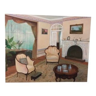 Interior Oil on Canvas Painting, Signed For Sale
