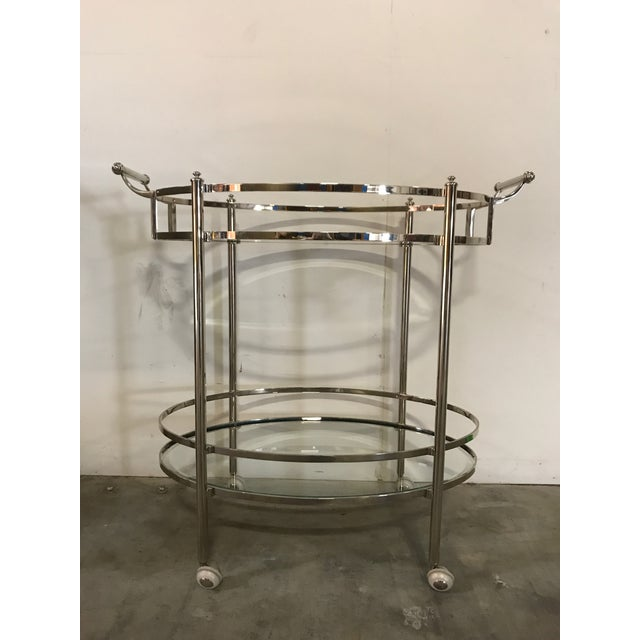 Polished Nickel Two Tier Bar Cart - Image 6 of 6