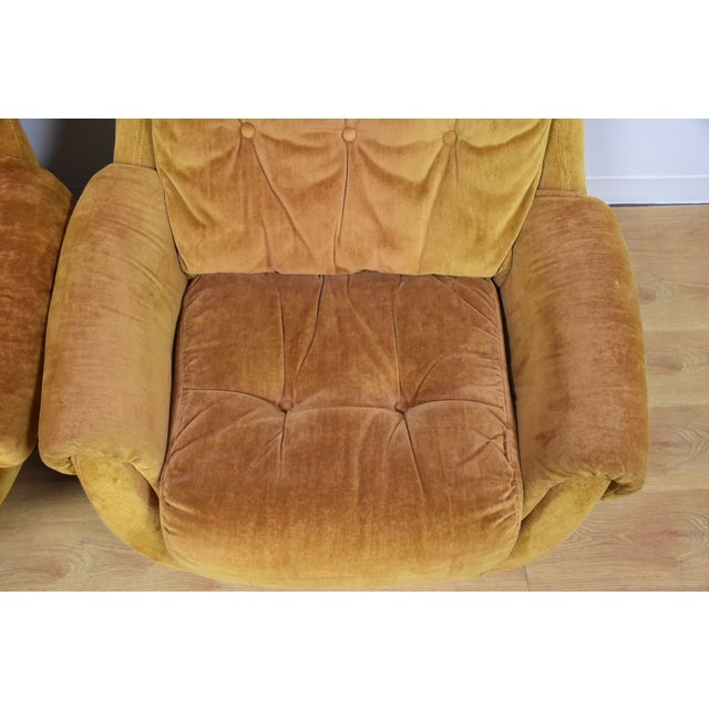 Orange Lounge Chairs & Ottomans - a Pair - Image 7 of 10