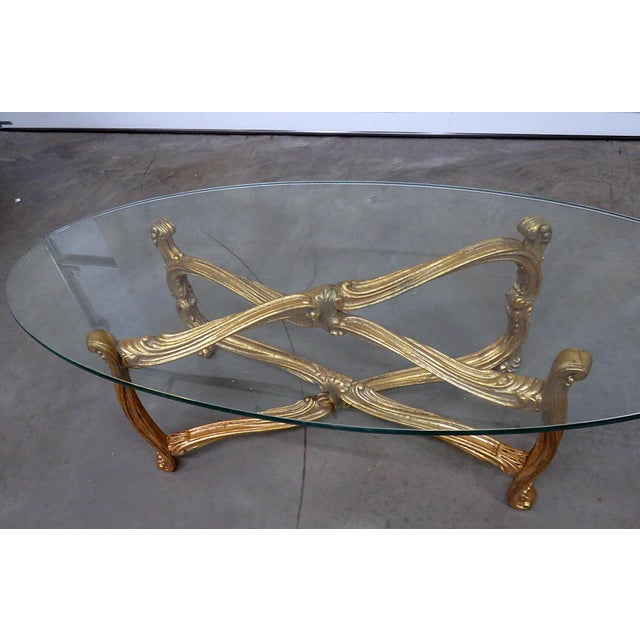 Mid 20th Century Hollywood Regency Glass Top Coffee Table For Sale - Image 5 of 9