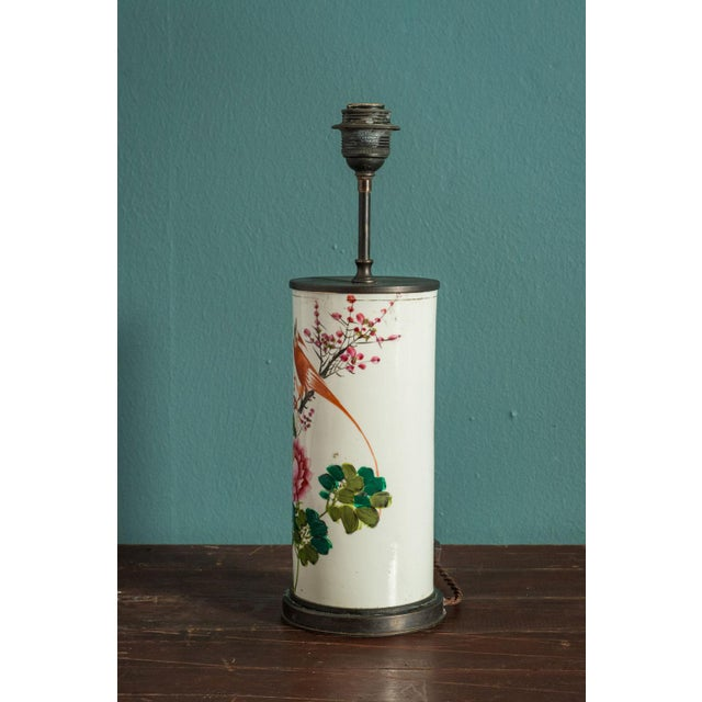 1910s Hand-Painted Japanese Custom Lamp For Sale - Image 5 of 6