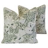 "Image of Safari Zebra Linen/Velvet Feather/Down Pillows 24"" Square - Pair For Sale"