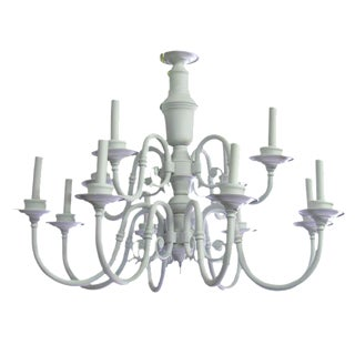 White Country Farmhouse Chandelier For Sale