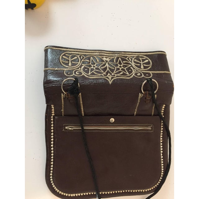 Brown Cross Body Leather African Berber Tribal Moroccan Bag For Sale - Image 8 of 10