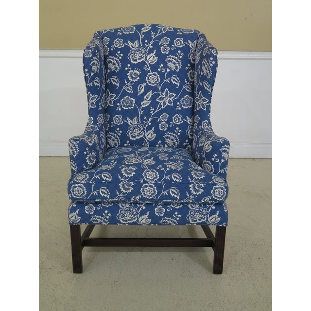 Kittinger Cw-12 Colonial Williamsburg Blue Upholstered Mahogany Wing Chair For Sale - Image 13 of 13