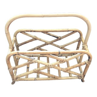 Vintage Chinese Chippendale Raw Bamboo Rattan Magazine Rack For Sale