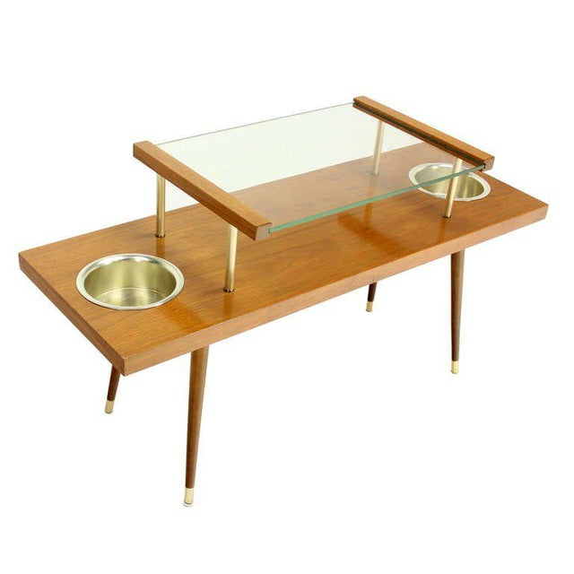 Mid-Century Modern Walnut and Glass-Top Console Table With Planters For Sale - Image 6 of 10