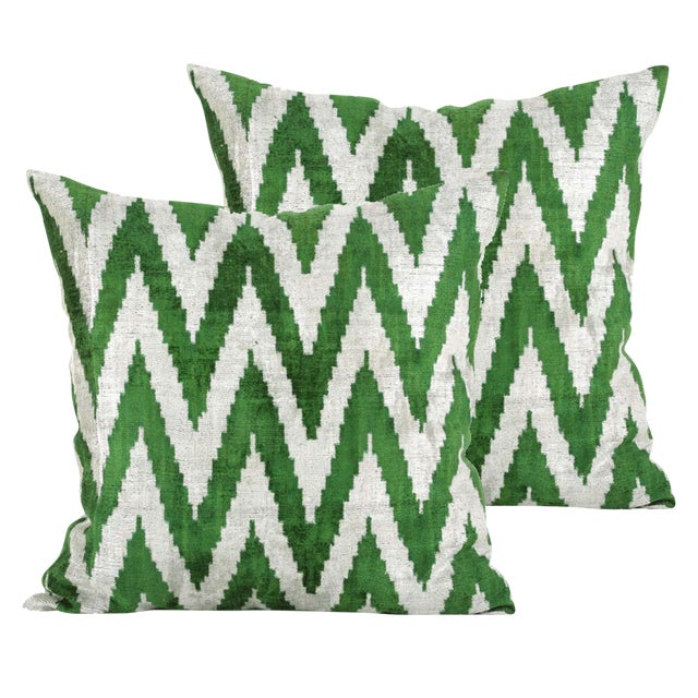 Green and Cream Chevron Silk Velvet Pillows - A Pair - Image 1 of 3