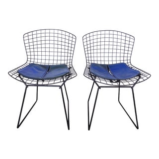 Original Harry Bertoia for Knoll Black Wire Side/Dining Chairs - a Pair For Sale