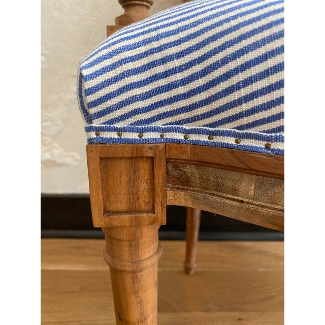 2010s Bunakara Fingerprint Basic Stripe Arm Chair in Ultra Marine Blue For Sale - Image 5 of 7