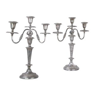Friedman Silver-Plated Candleholders - A Pair For Sale