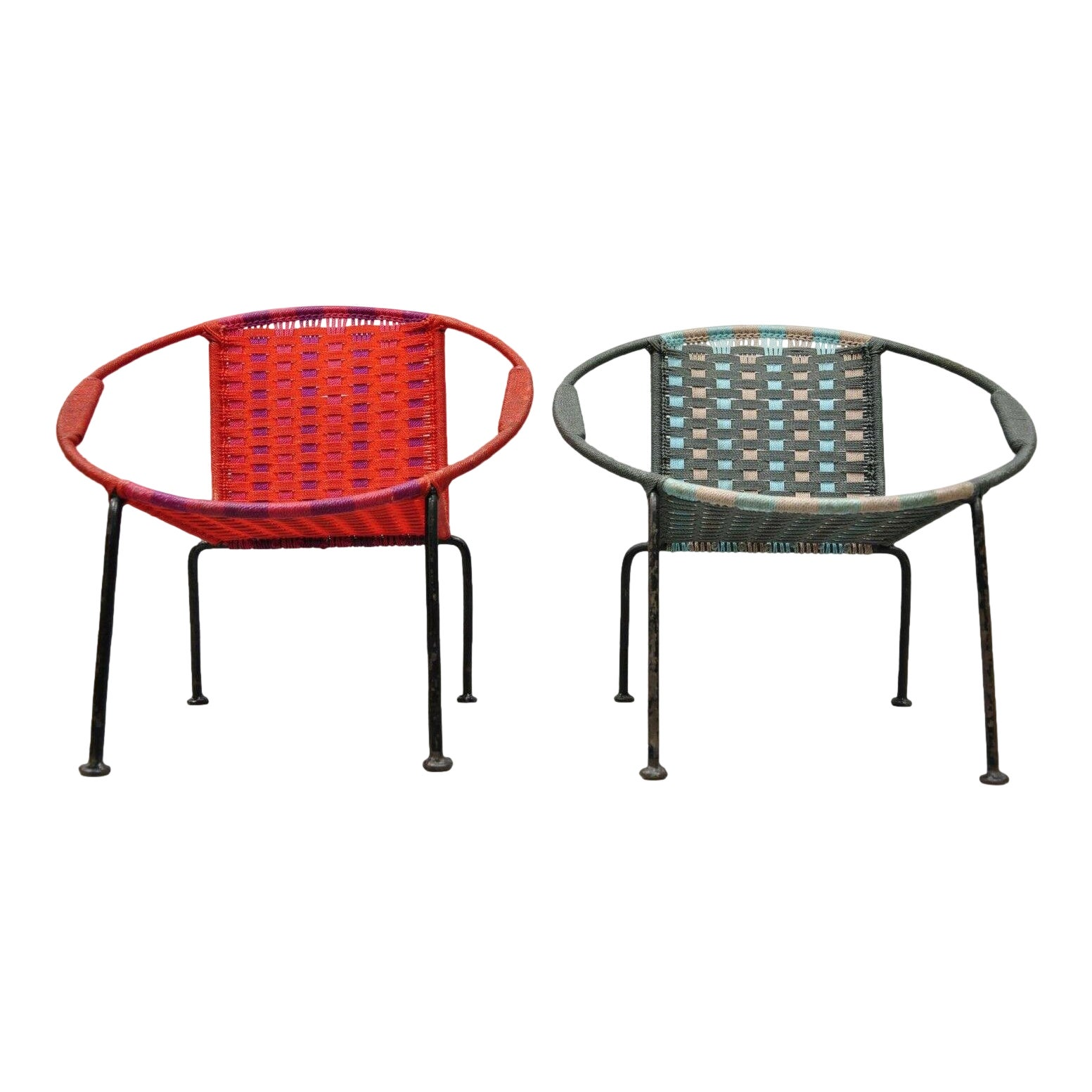 Vintage mid century childs mcm hoop saucer woven chairs a pair chairish